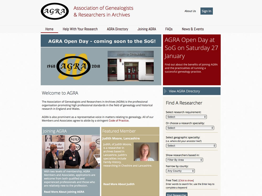 Website development for Association of Genealogists and Researchers in Archives (AGRA)