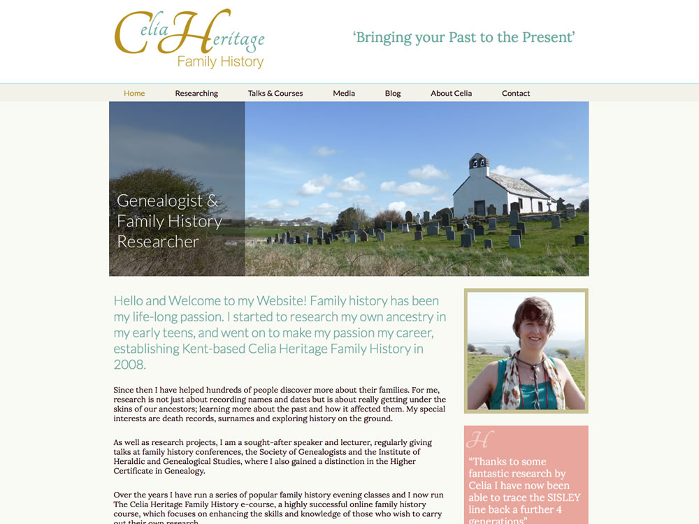 Website development for Celia Heritage at Heritage Family History