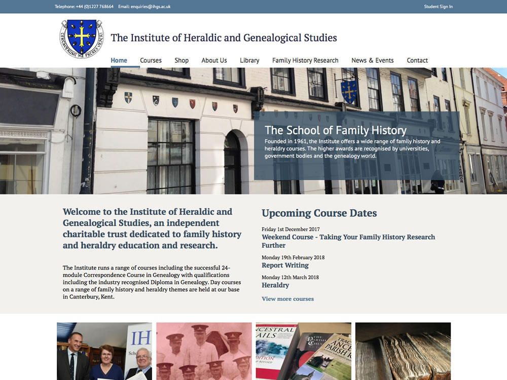 Website development for the Institute of Heraldic and Genealogical Studies, Canterbury